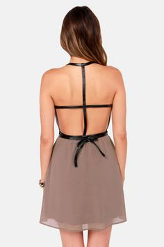 Sexy Taupe Dress - Belted Dress - Backless Dress