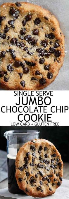 Single Serve Jumbo Low Carb Chocolate Chip Cookie - The Best Low Carb Deserts, Low Carb Sweets, Healthy Desserts, Diabetic Snacks, Keto Snacks, Healthy Foods, Healthy Eating, Keto Cookies, Cookies Et Biscuits