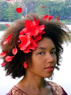 Hair Accessories Summer Headband Red Flowers by BoutiqueDeBandeaux