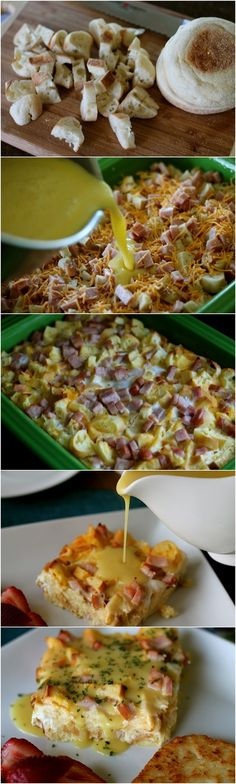 Eggs Benedict Bake - swap bacon, add spinach and forget bothering with the poached eggs