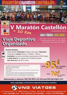 Turismo deportivo - Viaje organizado en autocar - Maratón y 10 Km Castellón - 6 y 7 Diciembre 2014
