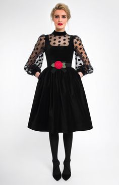 Combined large polka dot dress of black velvet and transparent gauze. Hidden back zip closure. Band velvet collar. Side seam pockets. Detachable belt with a designer handmade velvet rose.