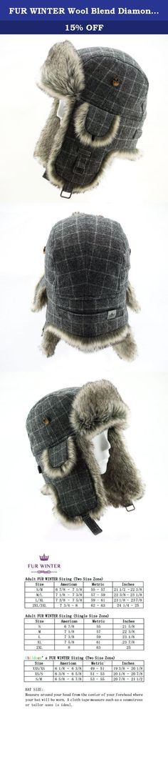 FUR WINTER Wool Blend Diamond Check Plaid Faux Fur Aviator Bomber Trapper Trooper Hat GRY S/M. FUR WINTER Aviator Hat, Luxury Winter Accessories Since 1955. We put our half century professional and built our reputation on these hats which are designed for warmth and style.