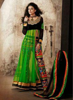 Miraculous Green Net Pant Style Salwar Suit