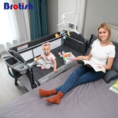 Brotish Splicing Crib | Multi -functional with Changing Table  Price: 112.00 & FREE Shipping  #mybaby Baby Bedside Crib, Baby Bedside Sleeper, The Babys, Portable Baby Cribs, Cradle Bedding, Diaper Caddy, Diaper Storage, Baby Bassinet, Pink Bedding