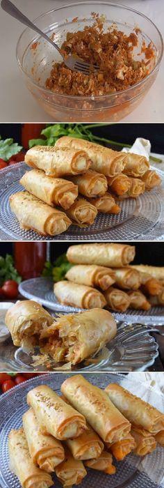 Estos rollitos son muy sabrosos y quedan muy crujientes con un aspecto hojaldrado y de lo más apetecibles.  #rollitos #atun #hojaldre #masa #crujientes #rollos #aceitunas #anchoas #salsa #tomate #tomatoes #sesamo #postres #cheesecake #cakes #pan #panfrances #panettone #panes #pantone #pan #recetas #recipe #casero #torta #tartas #pastel #nestlecocina #bizcocho #bizcochuelo #tasty #cocina #chocolate   Si te gusta dinos HOLA y dale a Me Gusta MIREN... Fish Recipes, Baby Food Recipes, Asian Recipes, Mexican Food Recipes, Cooking Recipes, Healthy Recipes, Tapas, Good Food, Yummy Food