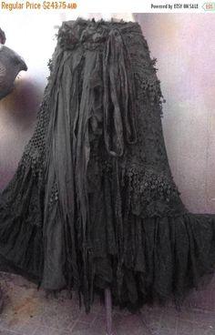 wedding skirt,tattered skirt, stevie nicks, bohemian skirt, boho skirt, gypsy skirt, lagenlook skirt,OAK, shabby wrap skirt.. she,s an absolutely gorgeous bohemian wrap around shabby skirt in BLACK kissed with ruffles of assorted laces,f bridal laces,bridal decals,netting,crochet,bridal