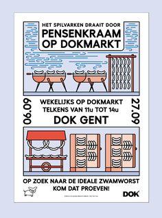 driesderiemaeker:  Poster for the sausage stall of 'het spilvarken' (at) DOKmarkt in september digital design for the 3 color RISO printprinted (at) Topo Copy August 2015, Ghent