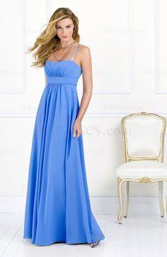 Cinderella Floor Length Sleeveless Chiffon Spaghetti Bridesmaid Dress