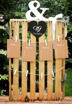 Hochzeitsdeko - Hochzeit Tischplan Tischordnung Sitzplan - ein Designerstück von CraftsandDeco bei DaWanda
