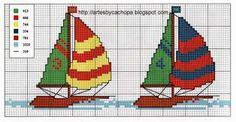 **Blog Amor Perfeito** Gráficos de ponto cruz: Barcos Cross Stitch Sea, Cross Stitch For Kids, Cross Stitch Flowers, Cross Stitch Charts, Cross Stitch Designs, Cross Stitch Patterns, Baby Knitting, Crochet Baby, Beading Patterns