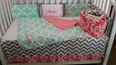 Handmade Nursery Baby Crib bedding, Coral Damask, Mint Quatrefoil, Grey chevron, Embroidered,personalized,Monogrammed, Custom Handmade, Quilt, bumper, Bed skirt *** Visit the image link more details.