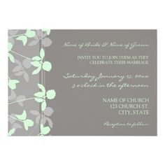 Grey Mint Floral Photo Wedding Invitation Cards