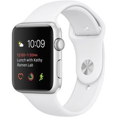 Apple Watch Silver Aluminum Case with White Sport Band ❤ liked on Polyvore featuring jewelry, watches, sport jewelry, sport wrist watch, white wrist watch, silver jewellery and sports watches
