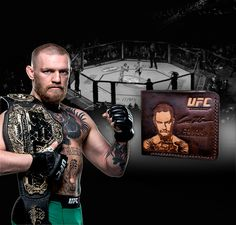 Mens Leather wallet with Conor McGregor ! 100 % genuine leather 100% handmade water protection best quality  Exclusive work
