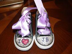 Converse customs with Swarovski crystals. Baby Bieber style. $70.00, via Etsy.
