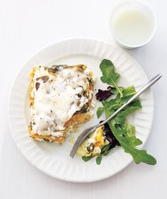 Slow Cooker Squash Lasagna -- Squash puree, ricotta, and mozzarella give this dish a rich, creamy flavor. #CrockPot #SlowCooker #Recipes #Vegetarian