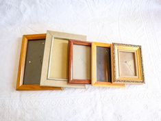 Mixed Wood Picture Frame Lot, Vintage 70s / 80s Wooden Photo Frmaes