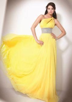 Elegant Chiffon One Shoulder A-line Sweep long prom dresses,yellow prom dresses Chiffon Evening Dresses, Evening Gowns, Strapless Dress Formal, Evening Party, Chiffon Gown, Stunning Dresses, Pretty Dresses, Gorgeous Dress, Homecoming Dresses
