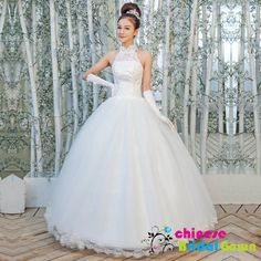 Style 11012, Incredible  Organza Ball Gown High Collar Chinese Wedding Dress by CBG.