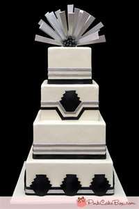 art deco wedding cake - something like this in ivory and gold, black and gold, a combination of all of the above...