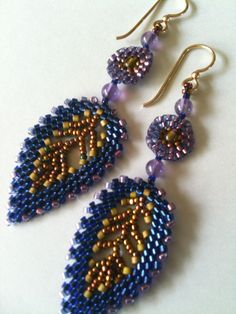 Blue, gold & amethyst Russian leaf earrings by Jeka Lambert.  Seed bead woven.  Seed beads, glass beads.