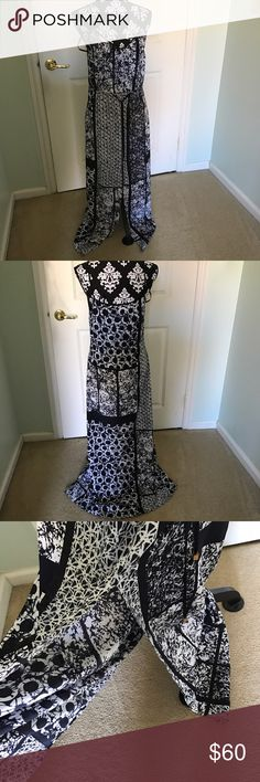 Michael Kors geometric Chiffon Dress NWOT Like new never worn light weight and comfortable has a open slit in front with attached straps that are not adjustable  and attached string belt great wear for any occasion Michael Kors Dresses Maxi