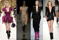 These runway looks draws various inspirations from the 1980's.  Some elements that were drawn are the narrow waist, shoulder pads, and puffed sleeves.  The narrow waist and shoulder pads were a symbol of power and success during the 1980's when success and status were valued during the economic boom.  The puffed sleeves at this time were a tribute to Princess Diana's wedding dress in which many designers during the 1980's drew inspiration from.  3/31/15