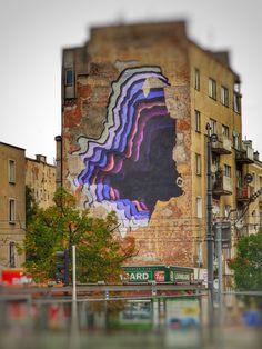 Street art by 1010 IG in Warsaw, Poland. Graffiti Writing, Street Art Graffiti, Tourist Office, Warsaw Poland, Weird Pictures, City Art, Prague, Installation Art, Sculptures