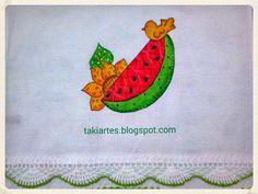 Pano de prato com pintura de melancia!