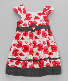 Take a look at this White & Red Poppy Dress with Spotted Trims by Dani Kids on #zulily today!