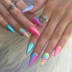 Why are stiletto nails so amazing? We have found the very Best Stiletto Nails for 2018 which you will find below. Having stiletto nails really makes you come off as creative and confident. You can be that fierce girl you always wanted to be! Stiletto Nail Art, Acrylic Nail Art, Acrylic Nail Designs, Stiletto Nail Designs, Chrome Nails Designs, Neon Nail Art, Blue Nail, Red Nail, Nail Nail