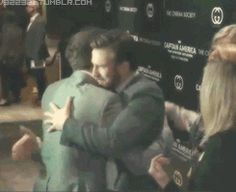 Chris Evans and Sebastian Stan being adorable. I feel Chris is telling how great Sebastian's suit looks on him in the end