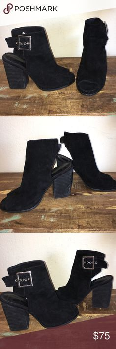 """GREAT COND BLACK SUEDE JEFFREY CAMPBELL BOOTiES 9 These Jeffrey Campbell booties in a size 9 feature a black suede leather, an adjustable high ankle wrap sling back with silver hardware, an open toe, a 4"""" chunky heel. Jeffrey Campbell Shoes Ankle Boots & Booties"""