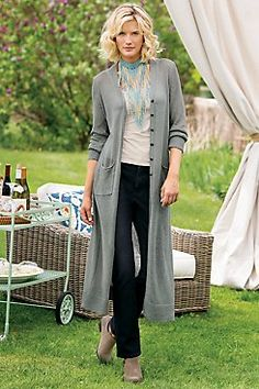 Talls Lara Long Cardi  Ease into fall in our ultra-chic, nearly sheer long cardi, so slimming and versatile in lightweight jersey sweater knit with shapely side panels, slouch