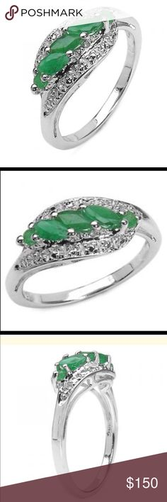 Emerald Marquise Gorgeous Women's Sterling Silver Emerald Size 7 Designer Ring.  3 Emerald Marquise and 2 Emerald Round. Jewelry Rings