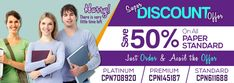 Get 50% Discount off on all the standard papers of academic writing at affordable rates.
