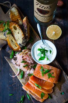 salt-cured salmon with vodka, juniper, lemon, & rosemary | feasting at home