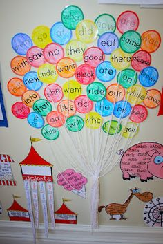 Like the way the balloons are done. Use for circus theme bulletin board. Vocab on balloons. tlk