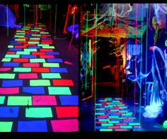 DIY: Mystical Glowing Walkway - Keep your Halloween guests feeling disoriented and off balance as they feel like they are hovering as they walk. Halloween Glow In The Dark Party. Sac Halloween, Halloween Dance, Theme Halloween, Holidays Halloween, Halloween Crafts, Happy Halloween, Halloween Decorations, Hanging Decorations, Glow Party Decorations