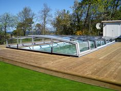 Retractable swimming pool enclosures, innovative conservatiries - patio enclosures CORSO in wide variety of shapes and colours by Alukov UK Swimming Pool Enclosures, Patio Enclosures, Swimming Pools, Deck, Gardens, Colours, Outdoor Decor, Home Decor, Corona