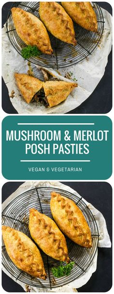 These Mushroom & Merlot Posh Pasties are perfect for a vegetarian or vegan Sunday Lunch option. Make your own rough puff pastry to make them extra-special!