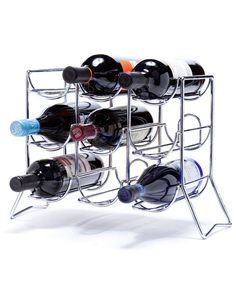 "Scaffovino 9 Bottle Counter Rack for $52 from WineRacks.com  This stunning chrome countertop rack could easily be mistaken for a metal sculpture. Holds 9 Bottles.  13""H x 16""W x 9.25""D"