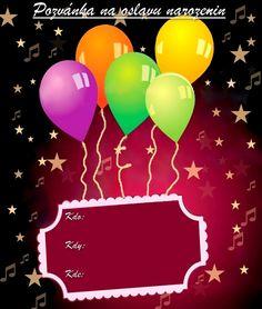 Pozvánky na oslavu narozenin - vzory - Oslavy-party.cz - oslavy plné zábavy! Paper Frames, Animals And Pets, Monkey, Celebrations, Origami, Diy And Crafts, Happy Birthday, Drink, Food