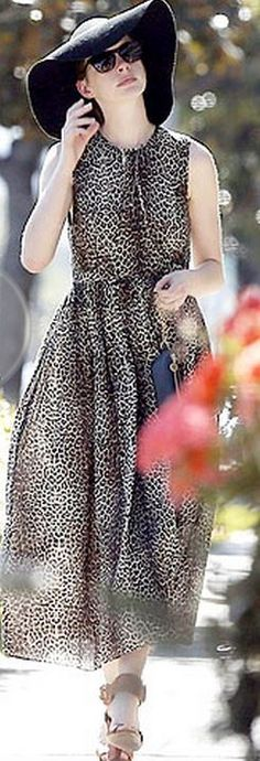 Anne Hathaway's animal print dress | Keep The Glamour ♡     ✤ LadyLuxury ✤