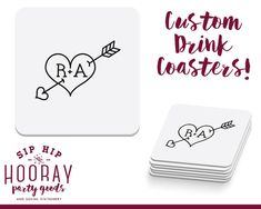 Personalized Coasters Heart and Arrow Favors Pretty Wedding Favors Wedding Coaster Custom Favor Wedding Favor Wedding Favors Coasters by SipHipHooray