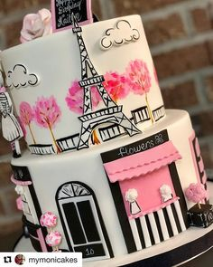 Wow, aren't the details amazing! Gorgeous Paris birthday themed cake by Paris Birthday Cakes, Paris Themed Cakes, Paris Themed Birthday Party, Paris Cakes, Birthday Party Themes, Paris Theme Parties, Chanel Birthday Cake, Paris Party Decorations, Parisian Cake