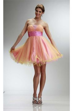 Ball Strapless Short Pink And Yellow Tulle Beaded Cocktail Prom Dress