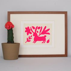 Neon Pink Conejo Bunnie Mexican Otomi Print by ScoutandLilly
