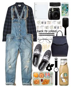 """""""Back to school with denim overalls"""" by rikadigimon13 ❤ liked on Polyvore featuring GHD, Current/Elliott, Hollister Co., Rosendahl, Fujifilm, Bling Jewelry, rag & bone, Keds, Retrò and Ox & Bull Trading Co."""